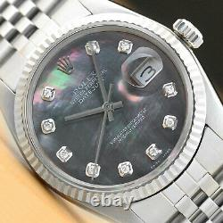 Mens Rolex Datejust Tahitian Mop Diamond Dial Quickset Watch + Rolex Band