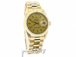 Mens Rolex Day-Date President 18K Yellow Gold Watch Champagne Stick Dial 18038