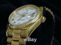 Mens Rolex Day-Date President 18K Yellow Gold Watch Quickset White Roman 18038