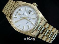 Mens Rolex Day-Date President Solid 18K Yellow Gold Watch White Vintage 1803