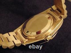 Mens Rolex Day-Date President Solid 18k Gold Watch Diamond Dial 1ct Bezel 18038