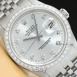 Mens Rolex Diamond Datejust 18k White Gold Stainless Steel Silver Dial Watch