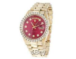 Mens Rolex President 18K Yellow Gold Day-Date 36MM Red Dial Diamond Watch 4.0 Ct