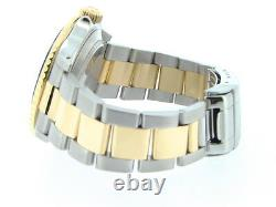 Mens Rolex Submariner 18k Yellow Gold Stainless Steel Watch Blue Date Sub 16613