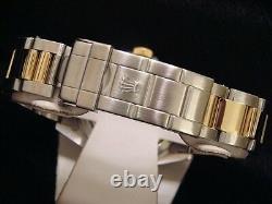 Mens Rolex Submariner Date 18k Yellow Gold & Steel Watch Blue Dial Bezel 16613
