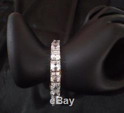 Mens Tennis Bracelet White Asscher cut Diamond 42.54cts 14k White Gold