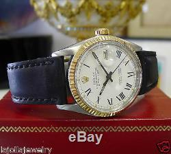 Mens Vintage ROLEX Datejust Yellow Gold Steel White Dial Roman Numeral Watch
