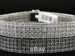 Mens White Gold Finish 4 Row Real Genuine Diamond 13 MM Bracelet Bangle 8.5 Inch