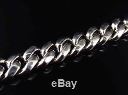 Mens White Gold Finish Sterling Silver Lab Diamond Cuban Royal Bracelet 9