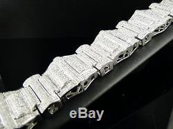 Mens Xxl White Gold Princess Cut Diamond Bracelet 30 Ct