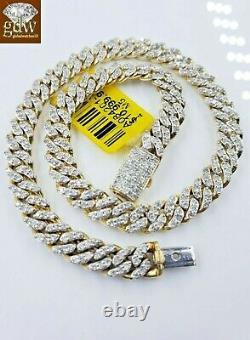 Miami Cuban Link Diamond 10k Bracelet Link Yellow Gold Box Clasp seven. Five