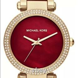 Michael Kors MK6427 Parker Red & Gold Tone Plum Acetate Ladies Wrist Watch