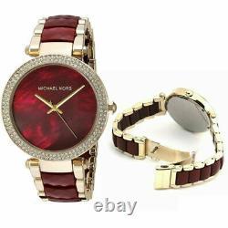 Michael Kors Parker Red Garnet Acetate Crystal Gold Dial Women's Watch MK6427