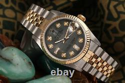 Midsize 2 Tone Women's Rolex 31mm Datejust Black Mother Of Pearl 8+2 Diamond
