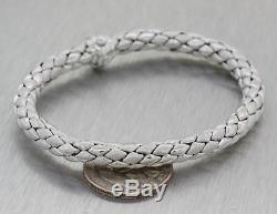 Modern Chimento 18k White Gold Diamond 7mm Wide Weave Chain Bracelet M8