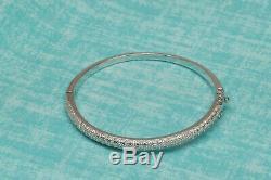 NEW 14k White Gold 1ctw Round Genuine Moissanite Bangle Bracelet 7.5 inches LD