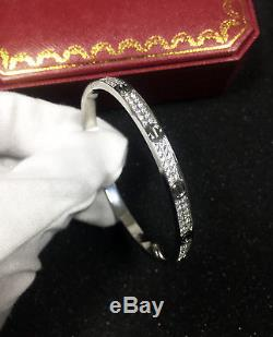 NEW Authentic Cartier-love-bracelet Diamond-Paved 18K-white-gold bangle size 17
