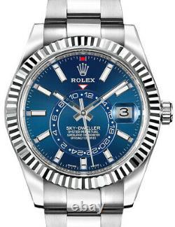 NEW Rolex Sky-Dweller 18k Gold/Steel Blue Dial 42mm Watch Box/Papers'20 326934