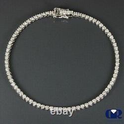Natural 1.00 Carat Round Cut Diamond Tennis Bracelet In 14K White Gold 7