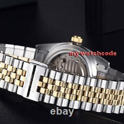 New 36mm PARNIS golden dial 21 jewels miyota luminous Date automatic mens watch