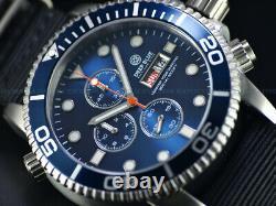 New Deep Blue 44mm Master 1000 Quartz Chronograph Blue Dial Sapphire Ss Diver