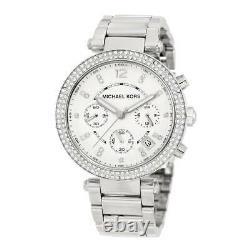 New Michael Kors Mk5353 Silver Parker Glitz Ladies Women's Chronograph Watch