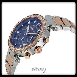 New Michael Kors Mk6141 Parker Two Tone Blue Dial Chronograph Womens Watch