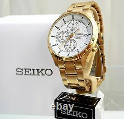New SEIKO Mens Watch Gold plated Chronograph RRP £250 UK Seller IDEAL GIFT