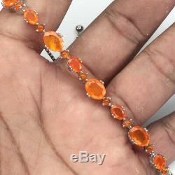 Oval Orange Fire Opal 8x6mm 14k White Gold Plate 925 Sterling Silver Bracelet