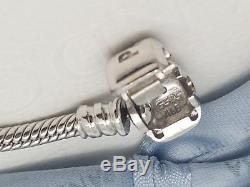 Pandora Rare 14ct 14k White Gold Diamond Clasp 18cm Charm Bracelet 550702WD