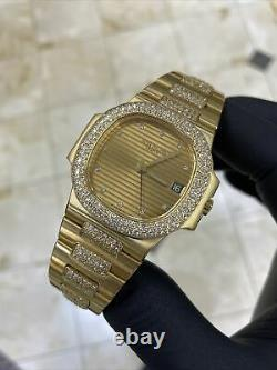 Patek Philippe Nautilus Ref# 3800/5 Yellow Gold Factory Set Diamonds