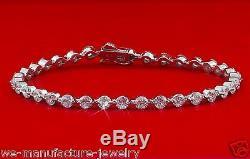 Plush 6.50 Carat Round Diamond Tennis Bracelet 14k White Gold F/SI 7 Inch