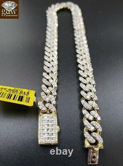 REAL Diamond Bracelet Solid 10k Gold cuban link 4CT Diamond Box clasp 8 Inch Men