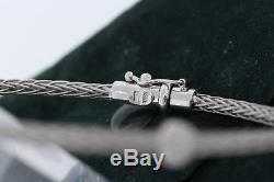 ROBERTO COIN 18k White GOLD. 10ct DIAMOND Spiga Two Station Bangle Bracelet