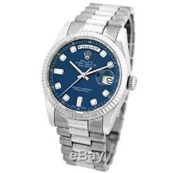 ROLEX 18K White Gold 36mm Day Date President Factory Diamond # 118239 Warranty