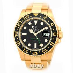 ROLEX 18K Yellow Gold 40mm Ceramic Bezel GMT Master II 116718 MINTY Warranty BOX