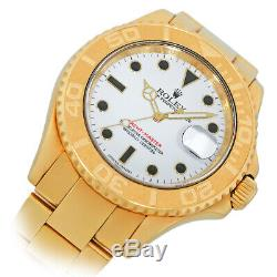 ROLEX 18K Yellow Gold 40mm Yachtmaster White Automatic 16628 Box Warranty MINTY
