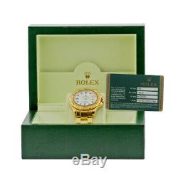 ROLEX 18K Yellow Gold 40mm Yachtmaster White Automatic 16628 Box Warranty MINTY