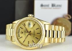 ROLEX 18kt Gold Day Date PRESIDENT Champagne Index 18038 SANT BLANC