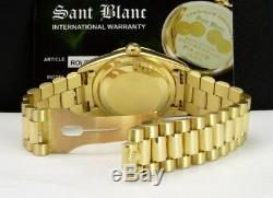 ROLEX 36mm 18kt Gold Day Date President White Bold Roman 18238 SANT BLANC