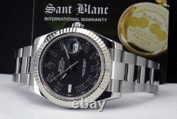 ROLEX 41mm White Gold & Stainless DateJust II Black Roman 116334 SANT BLANC