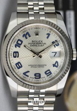 ROLEX DateJust White Gold & SS Silver Deco Blue Arabic Dial 116234 SANT BLANC