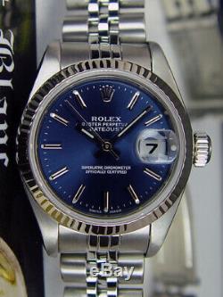 ROLEX Ladies White Gold & Stainless DateJust Blue Roman Jubilee 79174 SANT BLANC