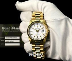 ROLEX Mens 18kt Gold Day Date President White Stick Box & Books 18238 SANT BLANC