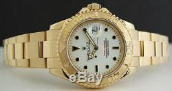 ROLEX Mens 18kt Yellow Gold 40mm YachtMaster White Index 16628 SANT BLANC