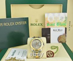 ROLEX Midsize 18kt Gold & Stainless YACHTMASTER Silver Gray 168623 SANT BLANC
