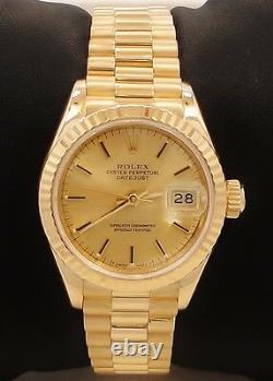 ROLEX President 69178 18K Yellow Gold Stick Dial 69178 Ladies Watch MINT