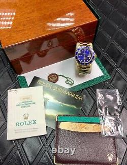 ROLEX SUBMARINER DATE 18ct YELLOW GOLD 16618 Mint