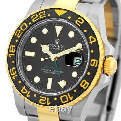 ROLEX Steel & 18K Yellow Gold 40mm Ceramic GMT Master II 116713 Box Warranty