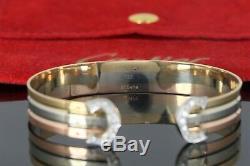 Rare Cartier Double C 18K Yellow White Rose Tri Color Gold Diamond Cuff Bracelet